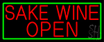 Red Sake Wine Open With Green Border Neon Sign