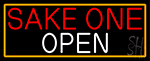 Sake One Open With Orange Border Neon Sign