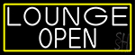 White Lounge Open With Yellow Border Neon Sign