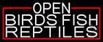 White Open Birds Fish Reptiles With Red Border Neon Sign