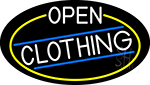White Open Clothing Oval With Yellow Border Neon Sign