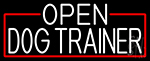 White Open Dog Trainer With Red Border LED Neon Sign