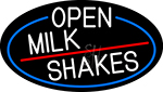White Open Milk Shakes Oval With Blue Border Neon Sign