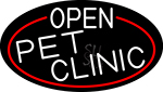 White Open Pet Clinic Oval With Red Border Neon Sign