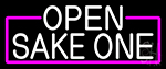 White Open Sake One With Pink Border Neon Sign