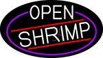 White Open Shrimp Oval With Blue Border Neon Sign