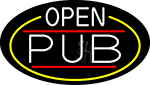 White Open Pub Oval With Yellow Border LED Neon Sign
