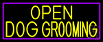 Yellow, Open Dog Grooming With Purple Border LED Neon Sign