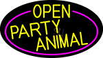 Yellow Open Party Animal Oval With Pink Border LED Neon Sign