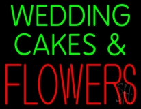 Green Wedding Cakes And Red Flowers Neon Sign