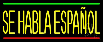 Yellow Se Habla Espanol Neon Sign