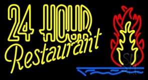 Double Stroke 24 Hours Restaurant Neon Sign