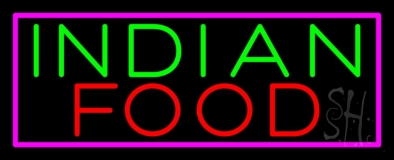 Indian Food with Pink Border Neon Sign