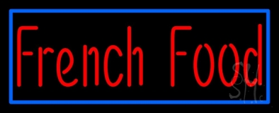 Red French Food Blue Border Neon Sign