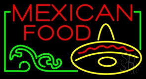 Red Block Mexican Food Neon Sign