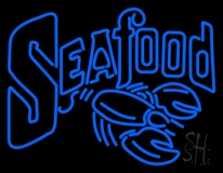 Blue Double Stroke Seafood Neon Sign