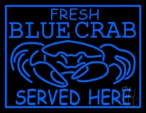Fresh Blue Crabs Served Here Crab Logo Neon Sign