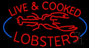 Red Live And Cooked Lobsters Seafood Neon Sign