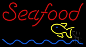 Red Seafood Fish Logo Waves Neon Sign