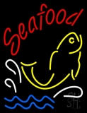 Red Seafood With Yellow Fish Logo Neon Sign