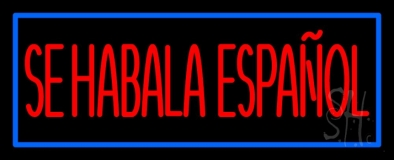Red Se Habla Espanol With Blue Border Neon Sign