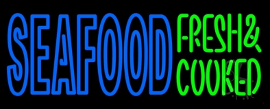 Seafood Fresh And Cooked Neon Sign