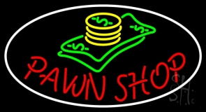 Oval Pawn Shop Neon Sign