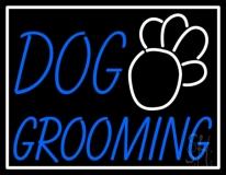Blue Dog Grooming White Border Neon Sign