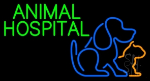 Green Animal Hospital Logo Neon Sign