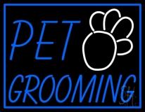 Pet Grooming Blue Border Neon Sign