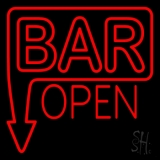 Bar Open With Arrow Red Neon Sign