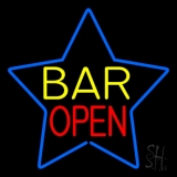 Yellow Bar Open Inside Blue Star LED Neon Sign