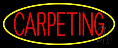 Red Carpeting Yellow Oval LED Neon Sign