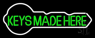 Green Keys Made Here Key Logo Neon Sign