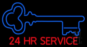Key Logo 24hr Service Neon Sign