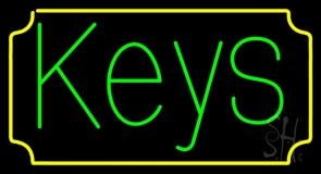Green Keys Yellow Border Neon Sign