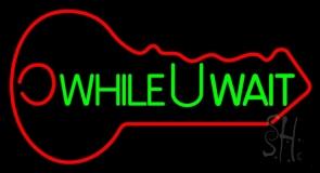 While You Wait Key Logo Neon Sign