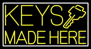 Yellow Keys Made Here LED Neon Sign