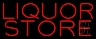 Red Liquor Store Neon Sign
