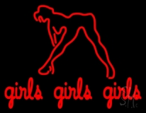 Girls Girls Girls Strip Club Neon Sign