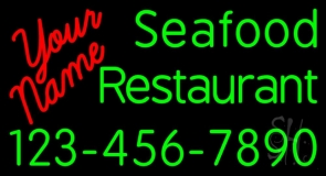 Custom Seafood Restaurant With Number Neon Sign