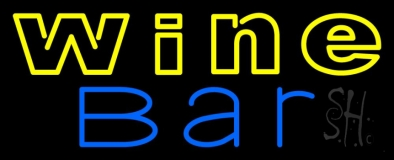 Double Stroke Blue Wine Bar Neon Sign