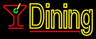 Dining With Martini Glass 2 Neon Sign