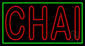 Double Stroke Red Chai Neon Sign