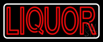 Double Stroke Red Liquor With White Border Neon Sign