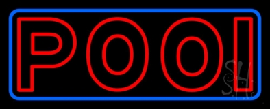Double Stroke Red Pool With Blue Border Neon Sign