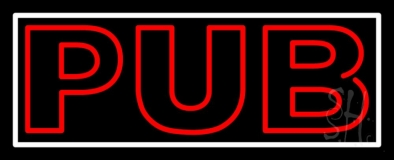 Double Stroke Red Pub With White Border LED Neon Sign