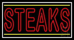 Double Stroke Red Steaks Neon Sign