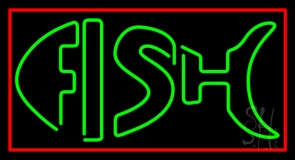 Green Double Stroke Fish With Red Border Neon Sign