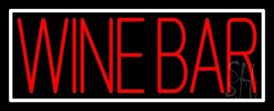 Red Wine Bar With White Border Neon Sign
